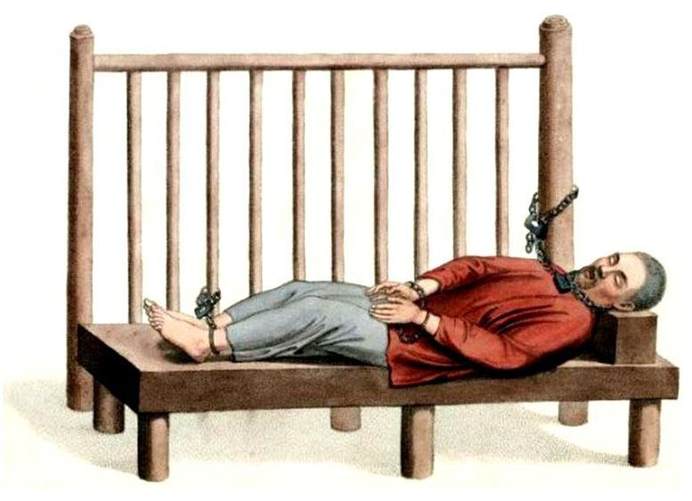 Les punitions des Chinois. Texte de George Henry Mason. Gravures de J. Dadley. G. Miller, Londres, 1801. 18. Criminel étroitement resserré.