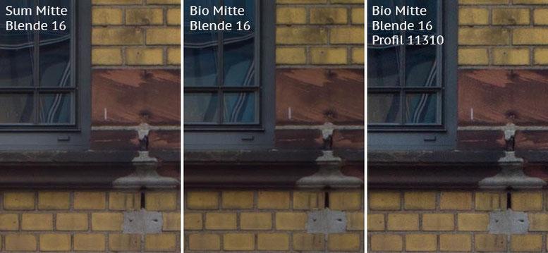 Vergleich mit Leica M9 bei Blende 16: Summicron-M 2,0/35mm Asph. vs. Biogon ZM 2,0/35mm ohne/mit Profil. Foto: Klaus Schoerner