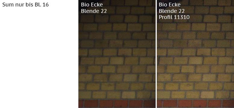 Vergleich Bildecke bei Blende 22: Summicron-M 2,0/35mm Asph. vs. Biogon ZM 2,0/35mm ohne/mit Profil. Foto: Klaus Schoerner