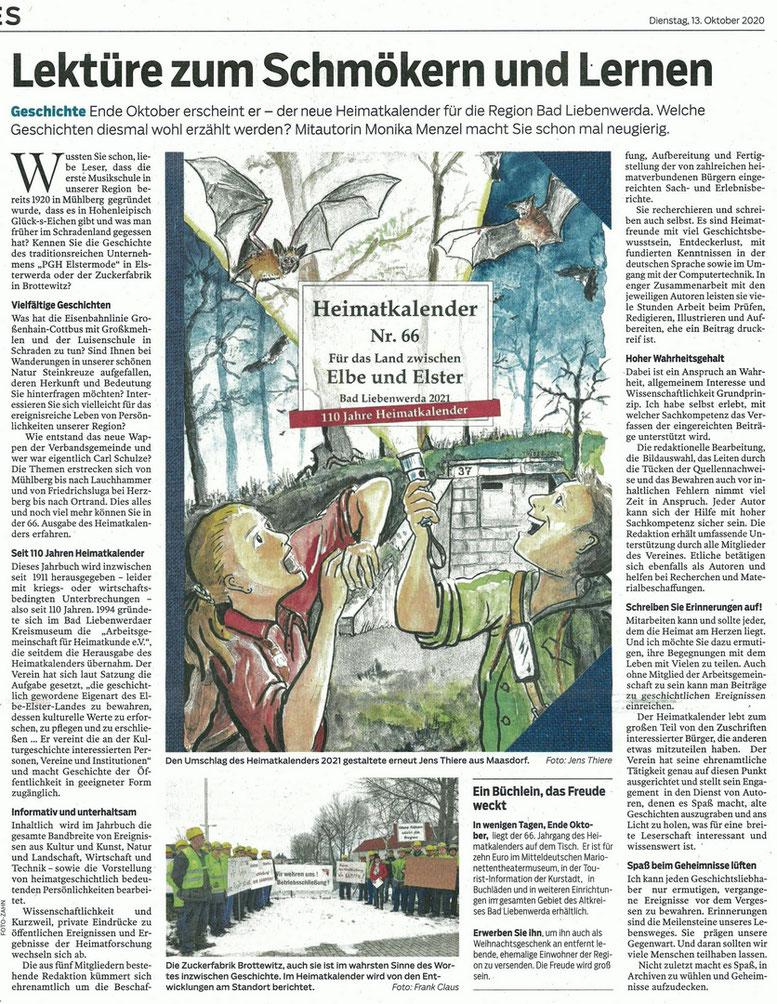 Titel Heimatkalender 2021, Lausitzer Rundschau vom 13.10.2020