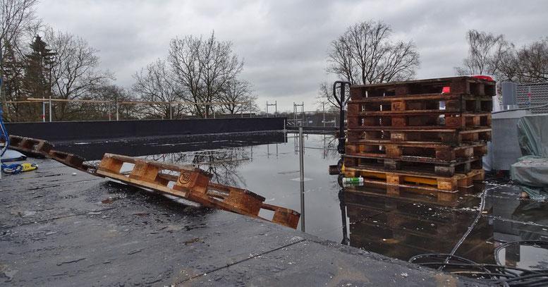 Im Vordergrund ist das Dach fertig. Auf der tieferen Fläche, auf der das Wasser steht, fehlt noch die Isolierung.
