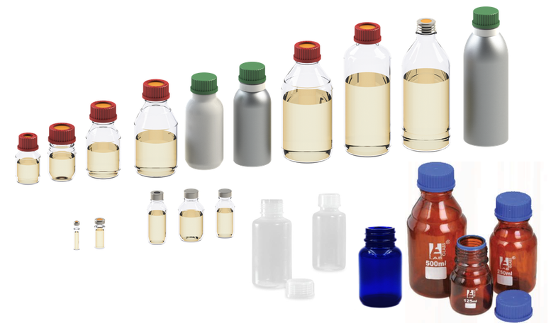 Liquid Sample Bottle Receiver types - Mechatest