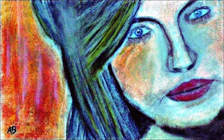 Frauenportrait, Pastellgemälde, Frau, Girl, Portrait, Feminin, Figurativ, Moderne Malerei, Pastellbild, Pastellmalerei