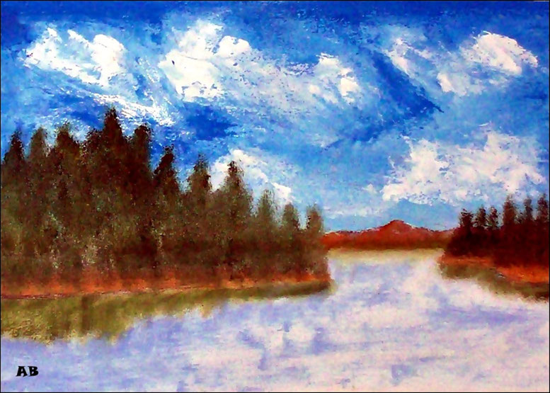 Bergsee, Ölgemälde, Berge, Bäume, Wald, Landschaftsbild, See, Gras, Wasser, Wolken, Ölmalerei, Ölbild