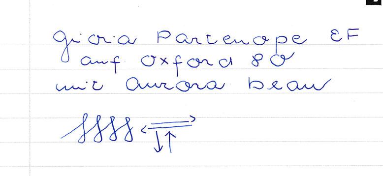 Feine, saftige Schrift mit der Aurora-Tinte. Sehr gleichmäßiger Tintenfluß, kein Kratzen
