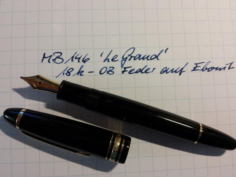 Gregors 146er mit der 18-K-Goldfeder, OB. Sehr schön die Kombi Ebonit-Tintenleiter und die blauschwarze Tinte (6.6.15)