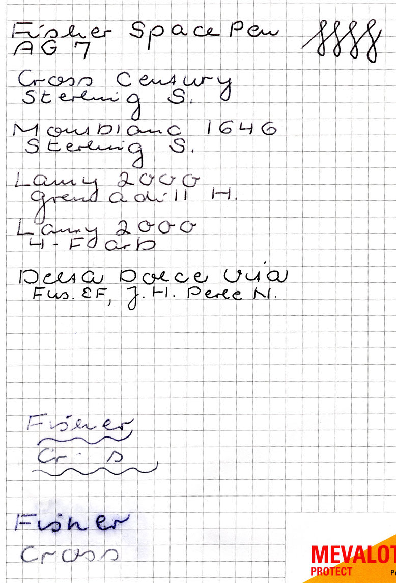 Schriftvergleiche in Schwarz. Unten: auf Fett; ganz unten: bei nassem Papier