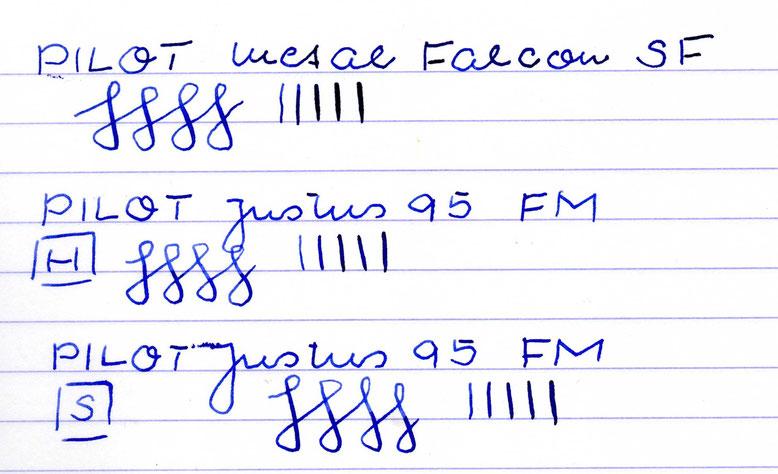 Falcon mit J. Herbin Bleu Océan; Justus mit R+K Königsblau (Entschuldigung für den übergedrückten Tintenflecken von der Gegenseite im unteren Schriftbeispiel)