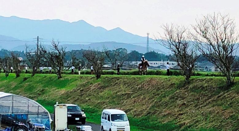 田んぼの中の土手に大勢の人と馬が。