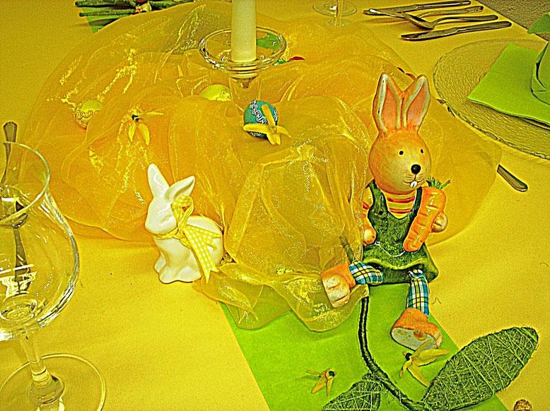 Tischdekorationen, Ostern, Tüll, gelb, Osterhase, grün
