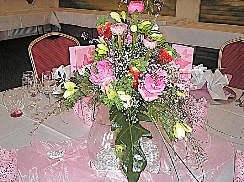 Tischdekorationen - Spargel, Erdbeere, Rosen, rosa, Gläser