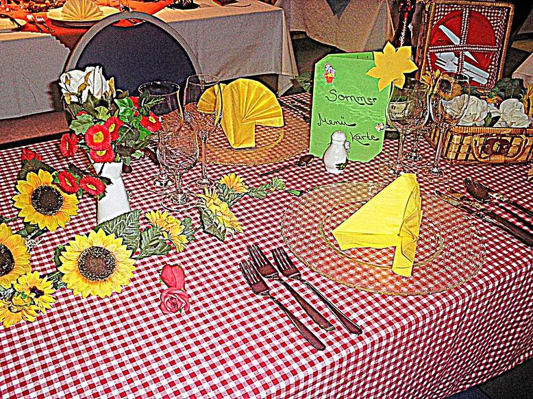 Tischdekorationen, Picknick, Sommer, kariert,