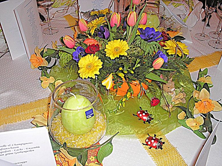 Tischdekorationen, Ostern, hellgrün, Frühling, Marienkäfer