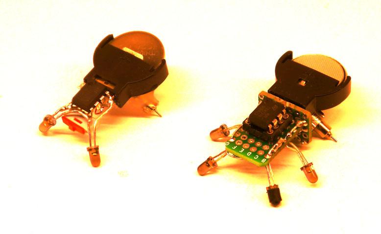 Winzige Insektenroboter mit Knopfzellen, 2 bzw. 4 Sensoren und Operationsverstärker