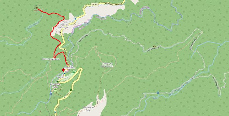 Wanderweg entlang der Levada Serra do Faial zum Miradouro dos Balcões.