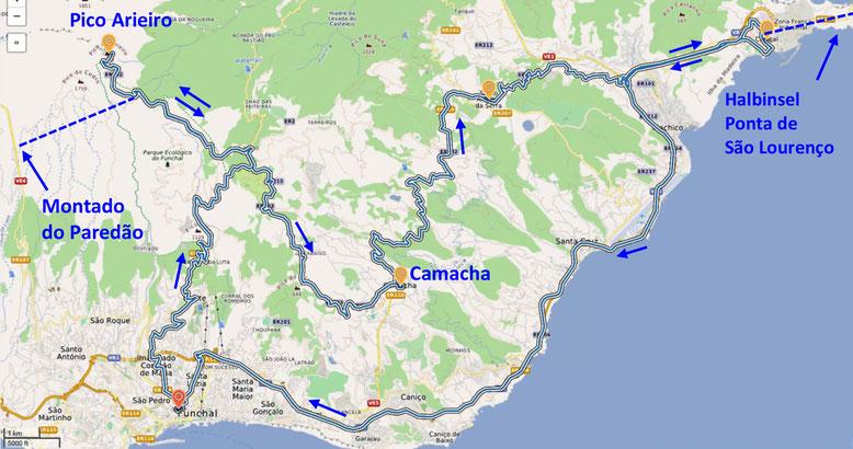 Die Karte zeigt unsere ungefähre Route am letzten Ausflugstag (Quelle: openstreetmap, Lizenz CC-BY-SA 2.0).