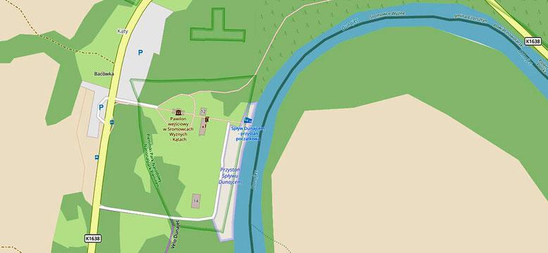 Bootsablegeplatz in Katy, östlich Sromowce Wyzne (Quelle: openstreetmap Lizenz CC-BY-SA 2.0). Von dem recht großen Parkplatz sind es lediglich ca. 100 m zu den Kassenhäuschen und dann noch einmal die gleiche Strecke bis zu den Bootsablegeplätzen.