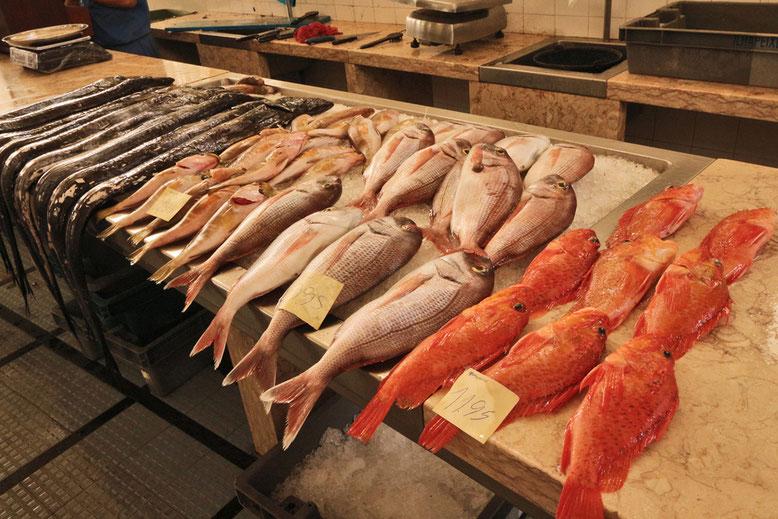 Markthalle in Funchal, Fischmarkt.