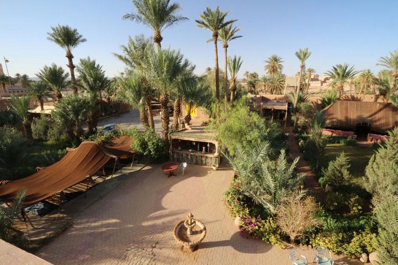 Der Innenhof der Herberge Jnane-Dar Diafa in Tamegroute.