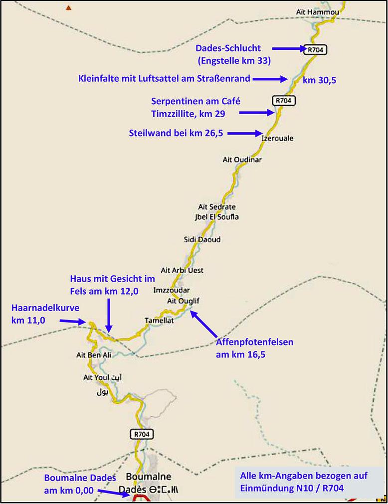Kärtchen Dades-Tal 1: Das Kärtchen zeigt die südlichen ca. 30 km der Dades-Schlucht oberhalb Boumalne Dades (Quelle: openstreetmap Lizenz CC-BY-SA 2.0).