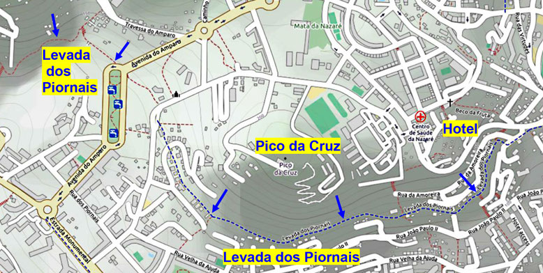 Die Levada dos Piornais im Stadtgebiet von Funchal unterhalb des Pico da Cruz (Quelle: openstreetmap, Lizenz CC-BY-SA 2.0).