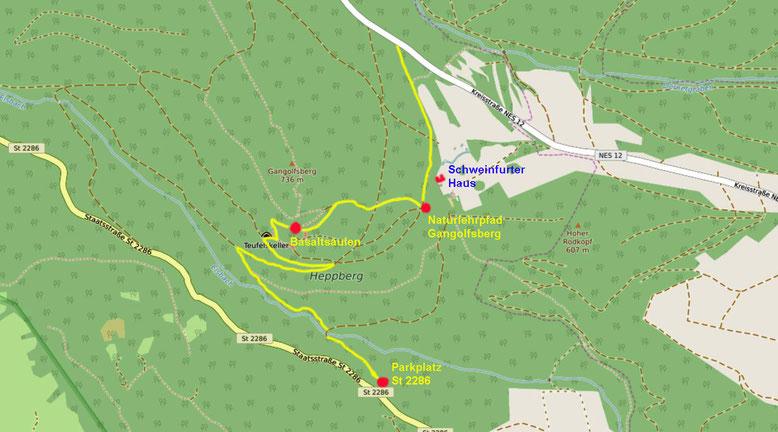 Detailkarte Prismenwand am Gangolfsberg (Quelle: openstreetmap, Lizenz CC-BY-SA 2.0).