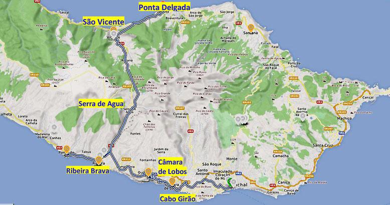 Erste Tagesfahrt mit unserem Miet-PKW in Richtug Sao Vicente (Quelle: openstreetmap, Lizenz CC-BY-SA 2.0).
