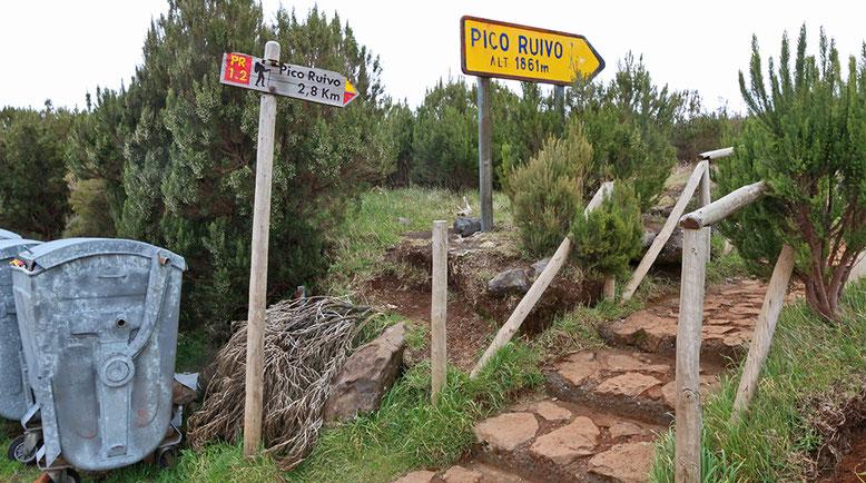 Startpunkt des Wanderweges vom Parkplatz Achada do Teixeira zum Pico Ruivo.