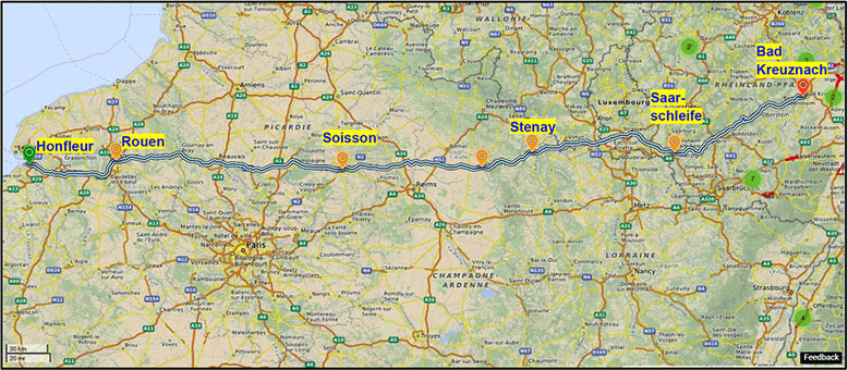 Anreise Bad Kreuznach – Honfleur (Quelle: openstreetmap, Lizenz CC-BY-SA 2.0).