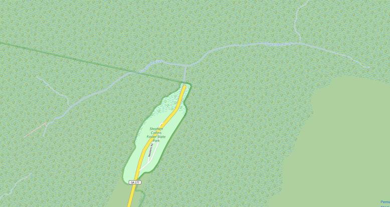 Der Steven C. Foster State Park liegt im Zentrum des Okefenokee Swamps. Bei Fargo verlässt man die Straße 94 und folgt der GA177 bis zum Park (Quelle: openstreetmap, Lizenz CC-BY-SA 2.0).
