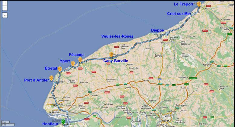 Die Normandie zwischen Honfleur und Le Tréport (Quelle: openstreetmap, Lizenz CC-BY-SA 2.0).