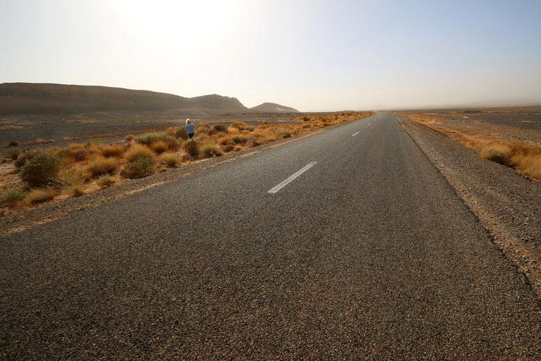 Fahrtechnisch ist die Straße jedenfalls ein Traum. Der Verkehr geht gegen Null und wir gleiten entspannt gen Westen.