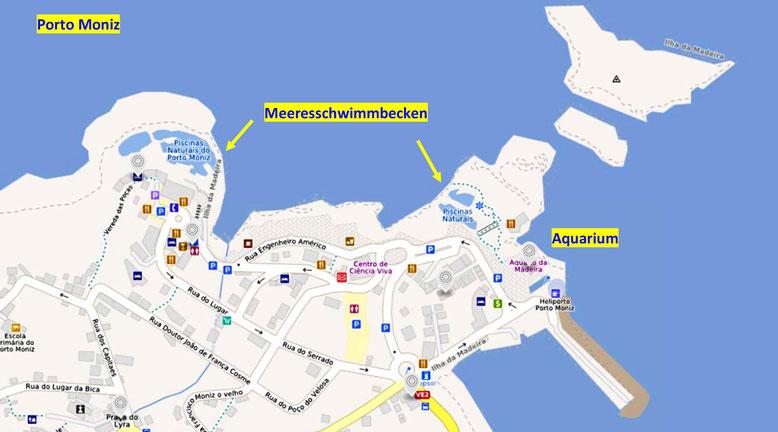 Karte von Porto Moniz (Quelle: openstreetmap Lizenz CC-BY-SA 2.0).