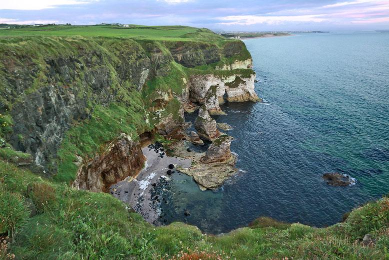 White Cliffs östlich des Golfplatzes von Portrush.