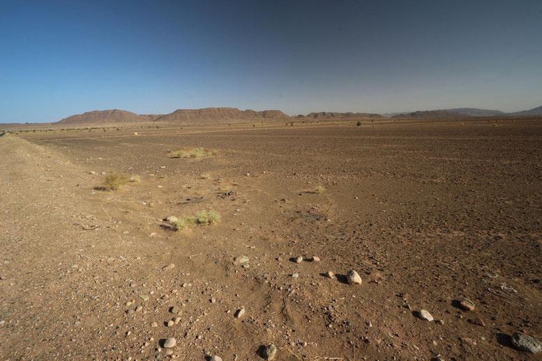 Kaum haben wir den Ort verlassen, umgibt uns wieder wüstenhafte Einöde auf unserem Weg in Richtung Agdz.