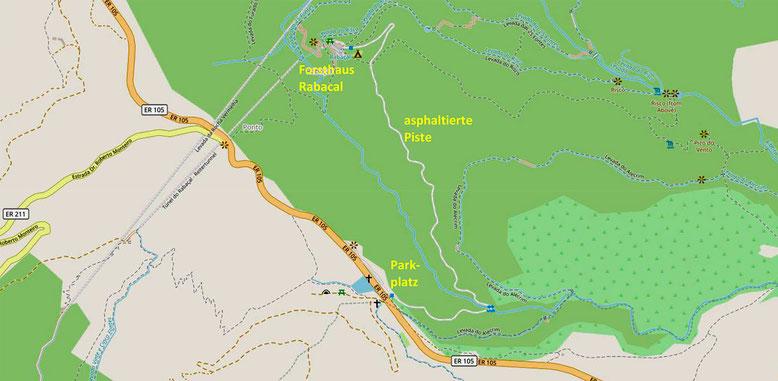 Kärtchen Fußweg zum Forsthaus Rabacal und dem 25 Quellen Wanderweg.