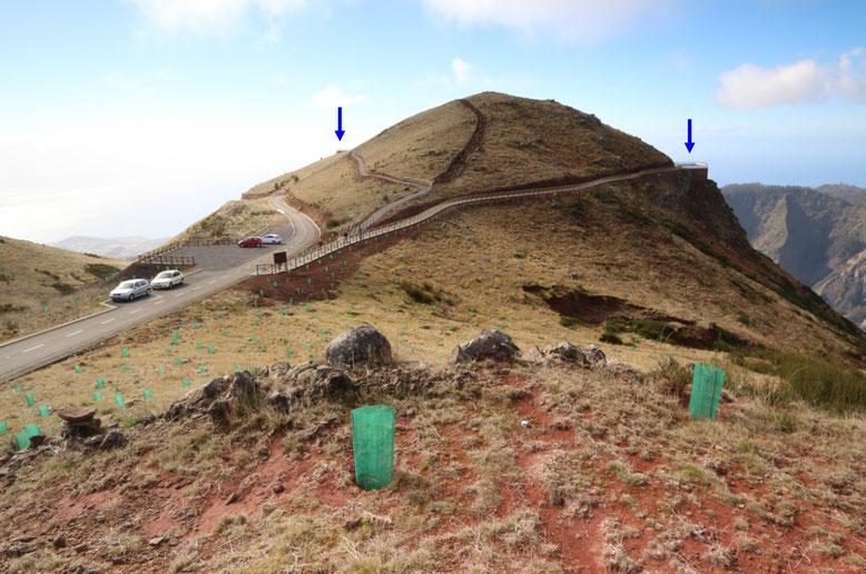 Parkplatz am Montado do Paredão. Der blaue Pfeil links im Bild markiert die Aussichtsplattform auf der Südseite mit Blick in Richtung Funchal, der Pfeil rechts im Bild die Plattform auf der Nordseite mit Blick in das Nonnental.