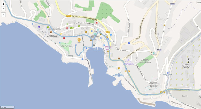 Hafen von Câmara de Lobos, westlich Funchal (Quelle: openstreetmap, Lizenz CC-BY-SA 2.0).