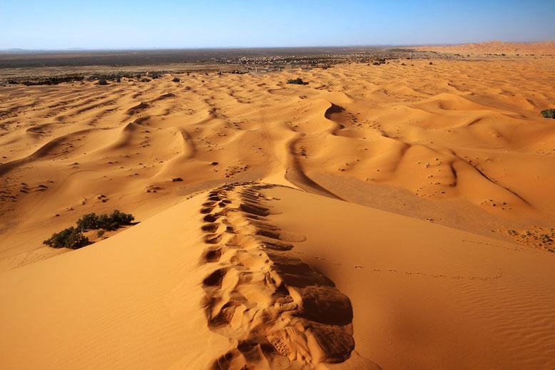 Michaels Sandspur erinnert an Spuren, die Schildkröten auf dem Weg zur Eiablage am Strand hinterlassen. Und genauso mühsam ist auch der Aufstieg.