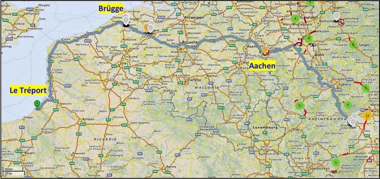 Heimfahrt von Le Tréport über Brügge und Gent nach Bad Kreuznach (Quelle: openstreetmap, Lizenz CC-BY-SA 2.0).
