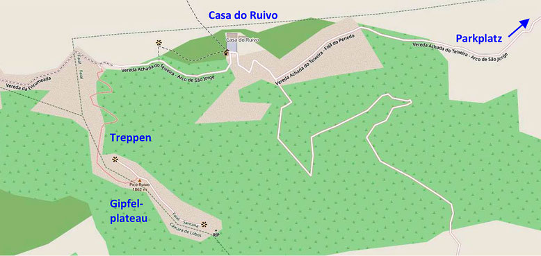 Kärtchen zum Aufstieg auf den Pico Ruivo.