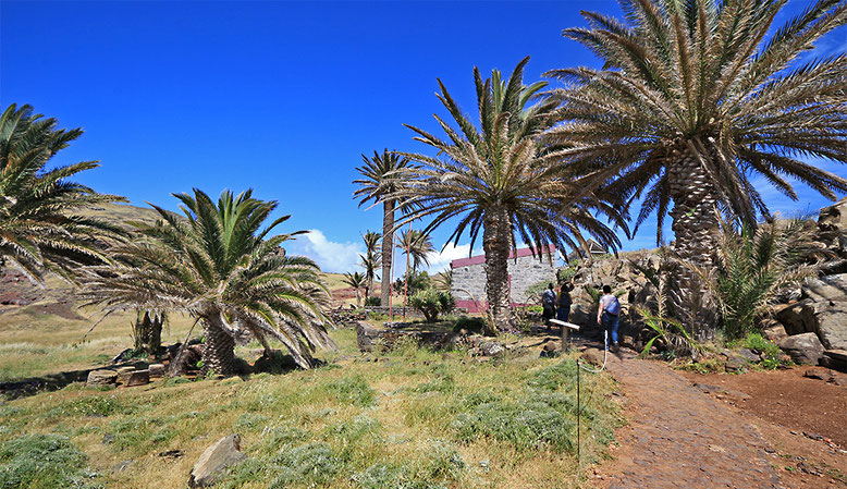 Palmengesäumte Rangerstation auf der Ponta de Sao Lorenco.