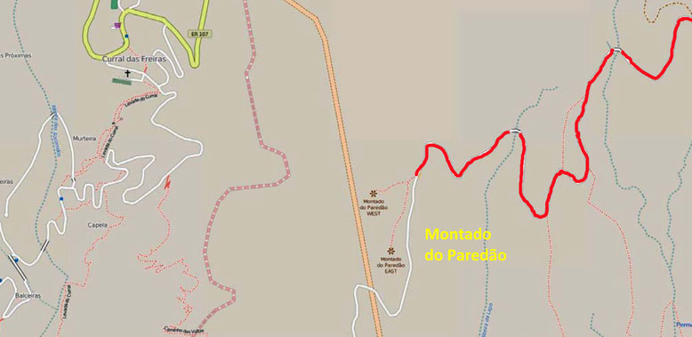 Die Karte zeigt die südöstlich von Curral das Freiras gelegenen beiden Aussichtsplattformen Montado do Paredão West und Montado do Paredão Ost (Quelle: openstreetmap, Lizenz CC-BY-SA 2.0).