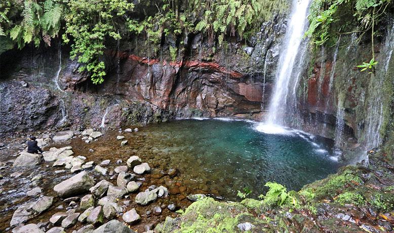 Ziel des 25 Quellen Wanderweges, im Hochland von Madeira.