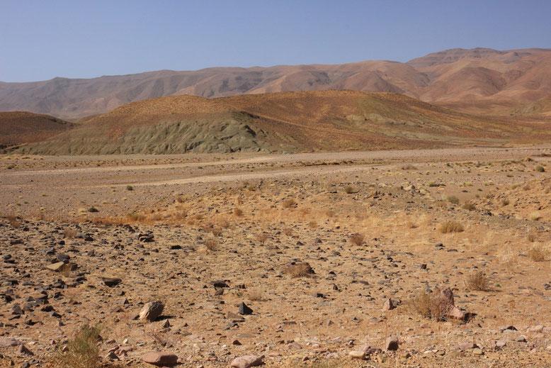 Landschaft an der R108 zwischen Agdz und Tazenakht, ca. 15 km westlich Agdz.