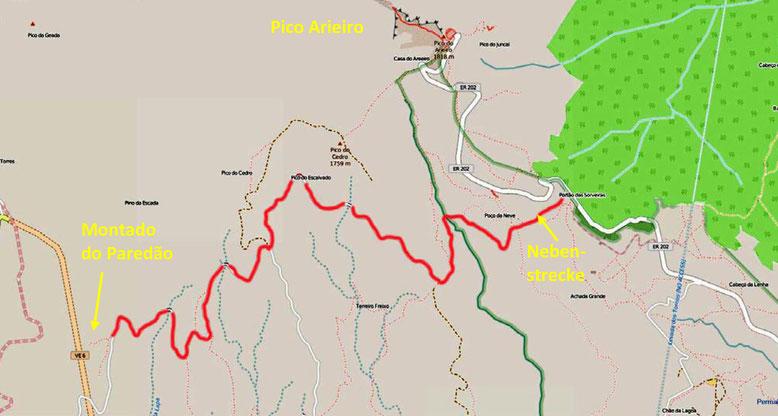 Die Karte zeigt die ca. 2,5 km unterhalb des Pico Arieiro in Richtung Curral das Freiras (das Nonnental) abzweigende Nebenstrecke (Quelle: openstreetmap, Lizenz CC-BY-SA 2.0).