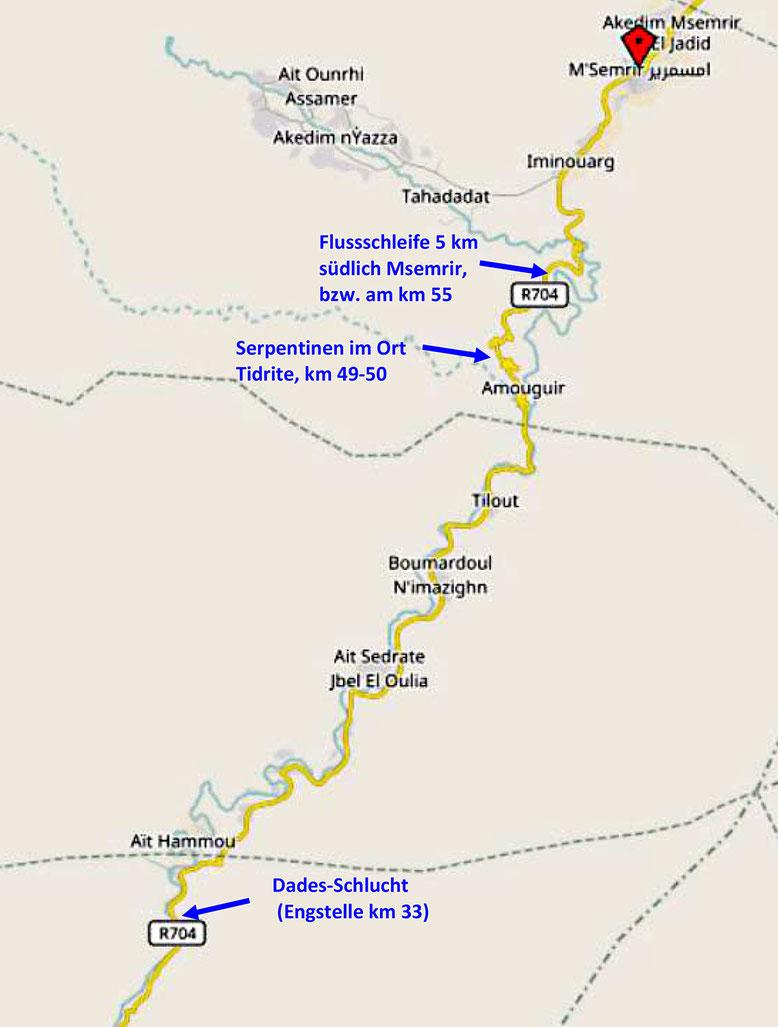 Kärtchen Dades-Tal 2: Das Kärtchen zeigt die nördlichen ca. 30 km der Dades-Schlucht oberhalb Boumalne Dades. Bei Msemrir endet die ca. 60 km lange asphaltierte Strecke (Quelle: openstreetmap Lizenz CC-BY-SA 2.0).