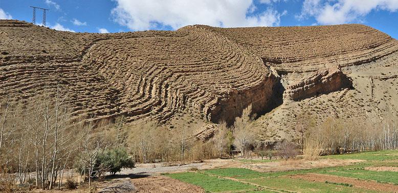 Jetzt schau sich doch einmal einer diesen herrlich gefalteten Bergrücken an! Ganz große Kunst, wenn ihr mich fragt. Und wenige Kilometer weiter lagern die Sedimente horizontal, als sei hier nie etwas geschehen. Unglaublich!!!