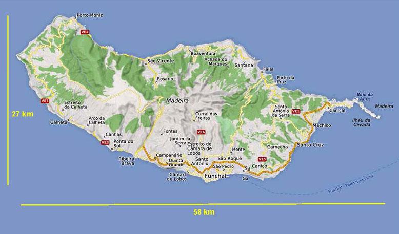 Madeira erreicht in Ost-West-Richtung eine Länge von knapp 60 km, die größte Breite beträgt etwa 23 km (Quelle: openstreetmap Lizenz CC-BY-SA 2.0).