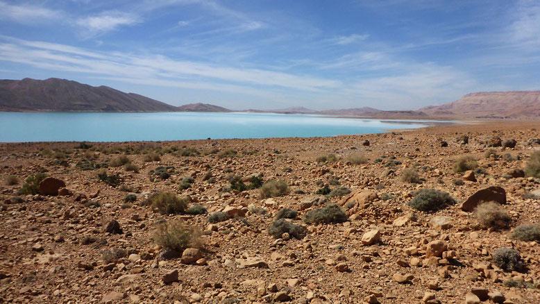 Die Seeufer des Barrage Al-Hassan Addakhil sind noch vollständig unbebaut.
